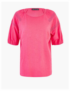 M&S Collection Pure Cotton Lace Trim Short Sleeve Top
