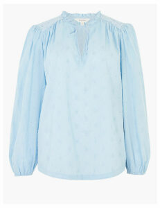 Per Una Pure Cotton Embroidered Tie Front Blouse