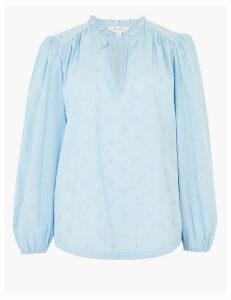 Per Una Pure Cotton Embroidered Tie Front Blouse
