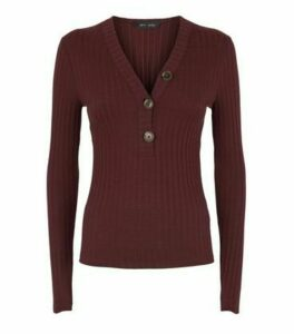 Burgundy Ribbed Button Front Cardigan New Look