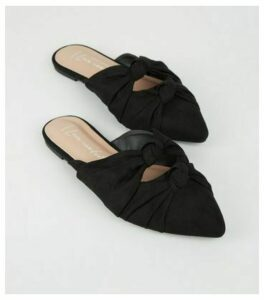 Wide Fit Black Suedette Knot Pointed Mules New Look Vegan