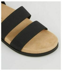 Wide Fit Black Elastic Strap Footbed Sandals New Look Vegan