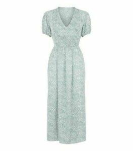 Blue Vanilla Mint Green Floral Shirred Midi Dress New Look