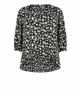 Blue Vanilla Curves Black Floral Dip Hem Top New Look