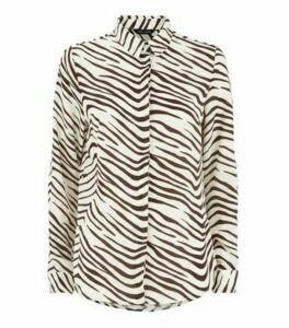 White Chiffon Zebra Print Long Shirt New Look