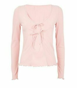 Pale Pink Ribbed Tie Front Lattice Trim Top New Look