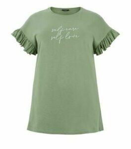 Curves Khaki Self Love Slogan T-Shirt New Look