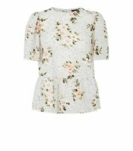 White Burnout Floral and Spot Peplum Top New Look