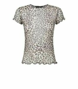 Black Leopard Print Mesh Short Sleeve Top New Look