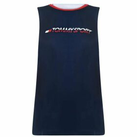 Tommy Sport Open Back Tape Tank Top - Sport Navy