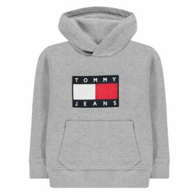 TOMMY JEANS Flag Hooded Sweatshirt - Light Grey