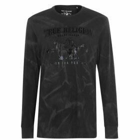True Religion Tie Dye Buddha Long Sleeve T Shirt - Black