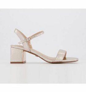 Office Mula Minimal Block Heel Sandal ROSE GOLD SNAKE WITH METAL PLATE