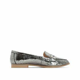 Metallic Cracked Loafers