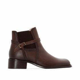 Leather Ankle Boots with Mid-Height Heel and Elasticated Sides