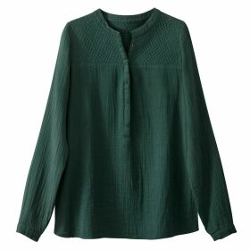 Cotton Blouse With Quilted Neckline