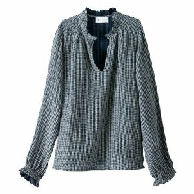 Gathered Neck Checked Blouse