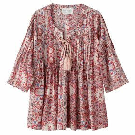 Printed Blouse with 3/4 Length Sleeves