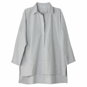 Checked Oversized Drop Back Cotton Shirt