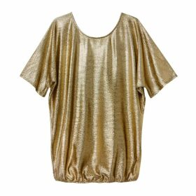 Metallic Gold Blouse with 3/4 Sleeves