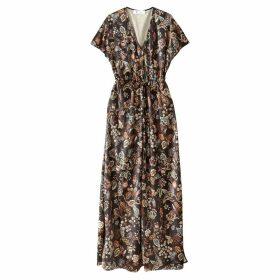 Floral Print Velour Maxi Dress