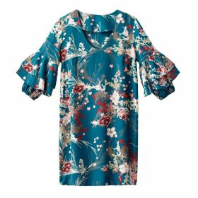 Floral Print Dress with Ruffled Sleeves