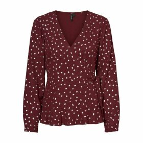 Polka Dot Wrapover Blouse