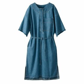 Light Denim Buttoned Dress with Tie Fastening