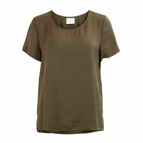 Plain Short-Sleeved Round Neck Blouse