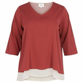 Plain V-Neck Blouse with 3/4 Length Sleeves