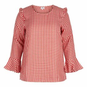 Checked Round Neck Blouse with 3/4 Length Sleeves