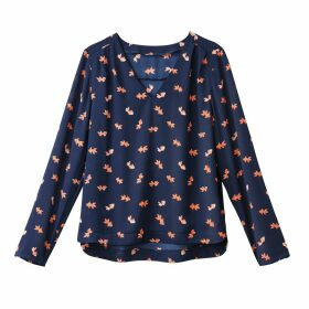 Long-Sleeved V-Neck Fish Print Blouse