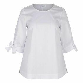 Plain Straight Cut Blouse with 3/4 Length Sleeves
