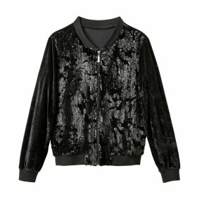 Velour Bomber Jacket with Sequin Pattern