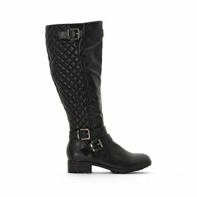 Wide Fit Knee-High Biker Boots in Faux Leather with Quilting