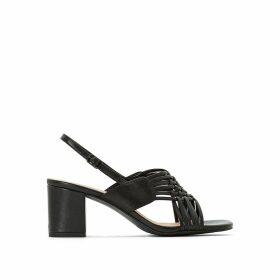 Leather Cross-Strap Block Heel Sandals