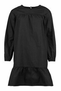 Womens Tall Poplin Tiered Mini Smock Dress - Black - 16, Black