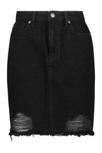 Womens Tall Distressed Hem Denim Skirt - Black - 16, Black
