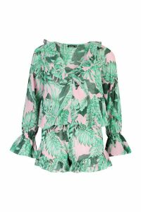 Womens Palm Print Ruffle Blouse & Short Co-Ord - Green - 14, Green