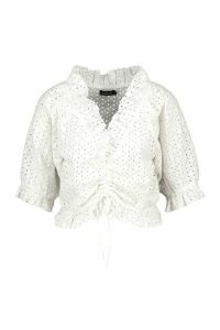 Womens Broderie Ruched Front Puff Sleeve Beach Top - White - Xl, White