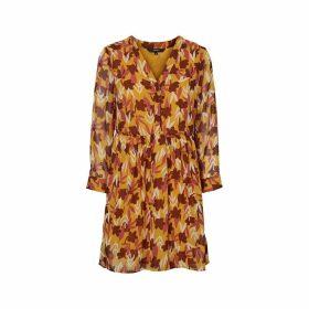 Floral Print Knee-Length Dress with V-Neck