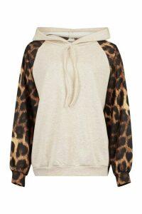Womens Tall Leopard Print Sleeve Hoodie - Beige - 14, Beige