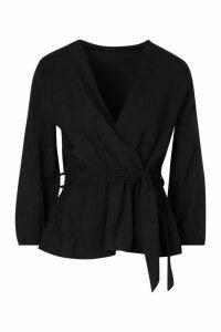 Womens Tall Woven Tie Waist Wrap Blouse - Black - 16, Black