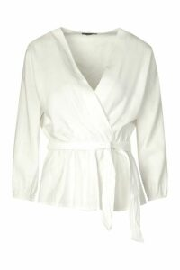 Womens Tall Woven Tie Waist Wrap Blouse - White - 18, White