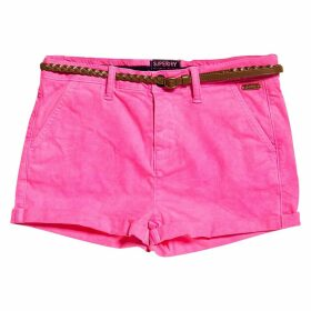 Cotton Chino Shorts with Plaited Belt