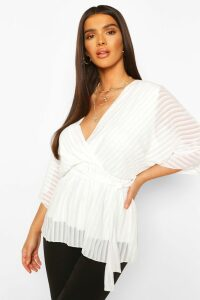Womens Sheer Stripe Wrap Belted Blouse - White - 14, White