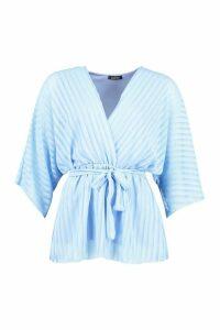 Womens Sheer Stripe Wrap Belted Blouse - Blue - 10, Blue