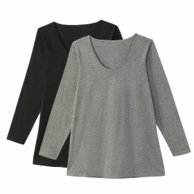 Pack of 2 Crew Neck Long-Sleeved T-Shirts