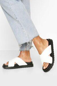Womens Croc Cross Strap Footbed Sliders - White - 8, White