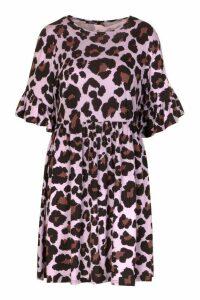 Womens Leopard Print Ruffle Sleeve Smock Dress - Purple - 10, Purple